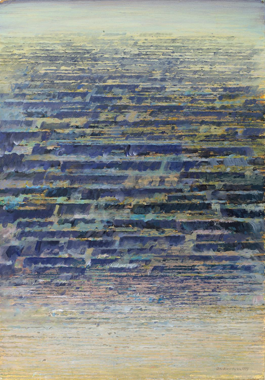 Błekitny rytm 1994, tempera, akryl, 73x51cm