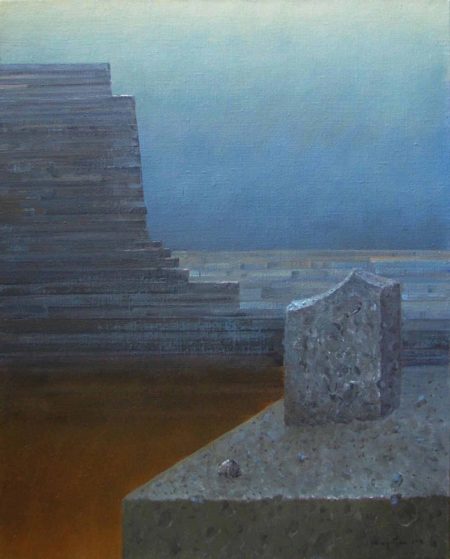 Czarna wieża, 2014, olej na płotnie, 70x55cm