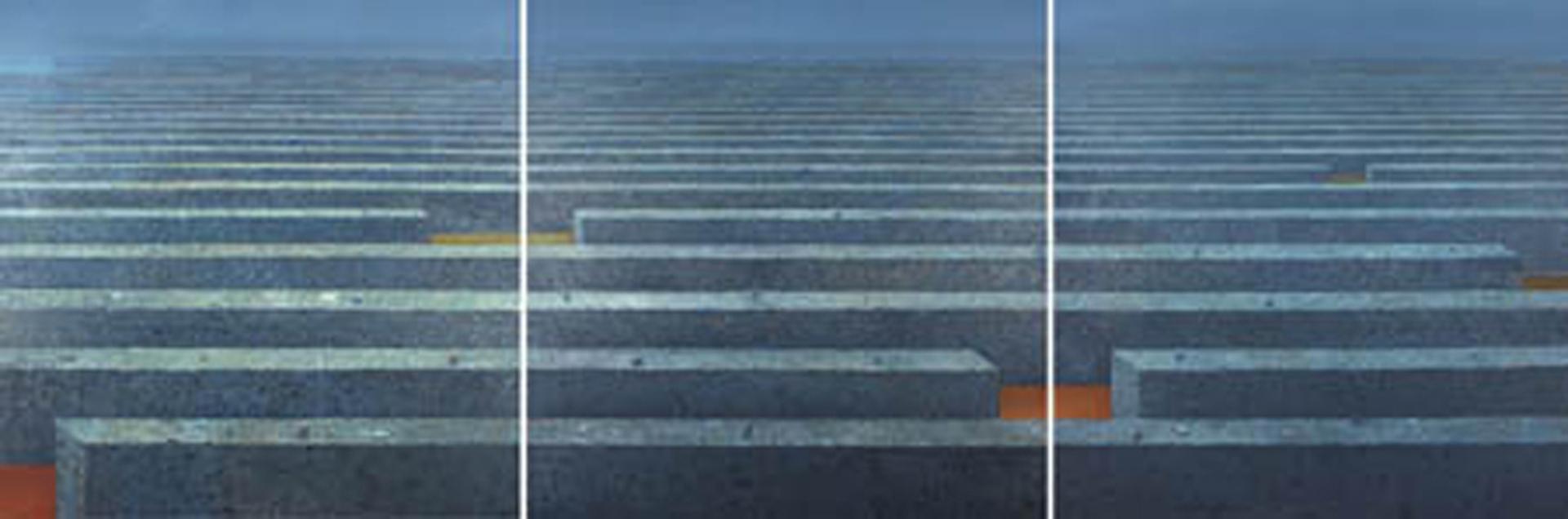 Horyzont I-III 1999-2004, olej płótno, 150x150cmx3