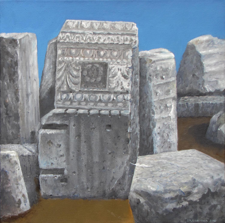 Kamienie rzymskie V, 2017, olej, płótno, 50x50