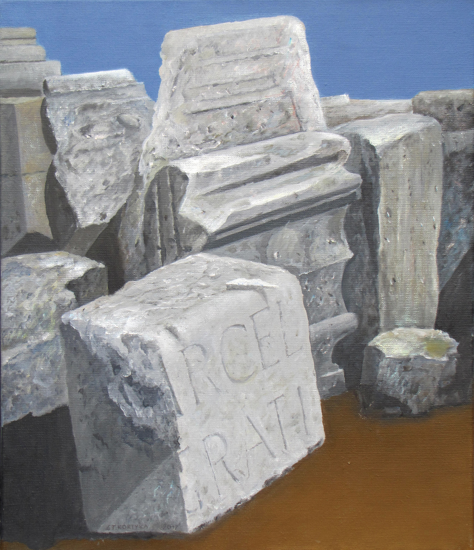 Kamienie rzymskie VI, 2017, olej, płótno, 70x50