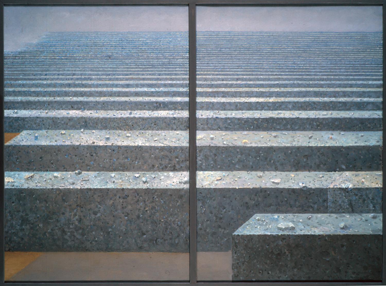 Kamienny rytm II 2007, olej płótno, 92x62cm x2