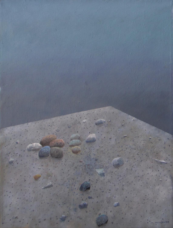 Kolekcja z białym piórem, 2016, olej na płótnie, 80x60cm