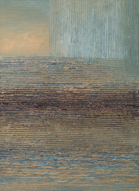 Na horyzoncie 1992, tempera, akryl, 65x48cm