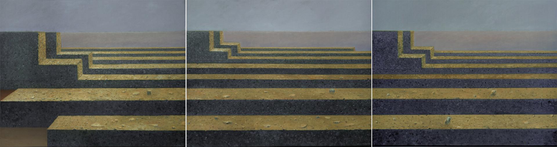Niekonczaca sie podroz I-III 2007,olej płótno, 120x150 x3