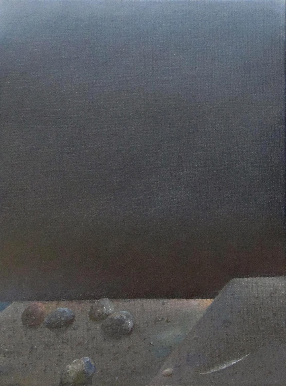 Pięć kamieni i pióro, 2015, olej na płótnie, 40x30cm