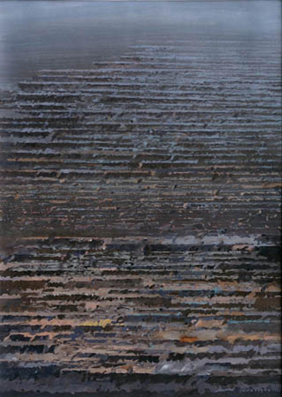 Rytmy jasnych i mrocznych stref 1993, gwasz, 51x36cm