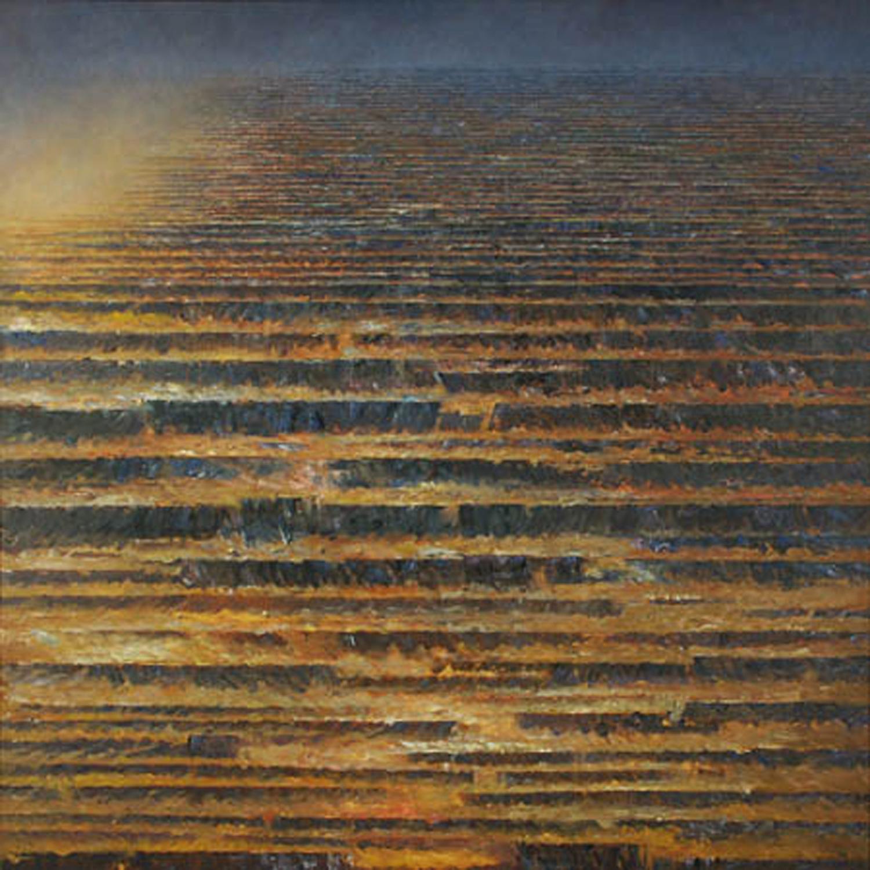 Rytmy jasnych i mrocznych stref II 1995, olej płótno, 150x150cm