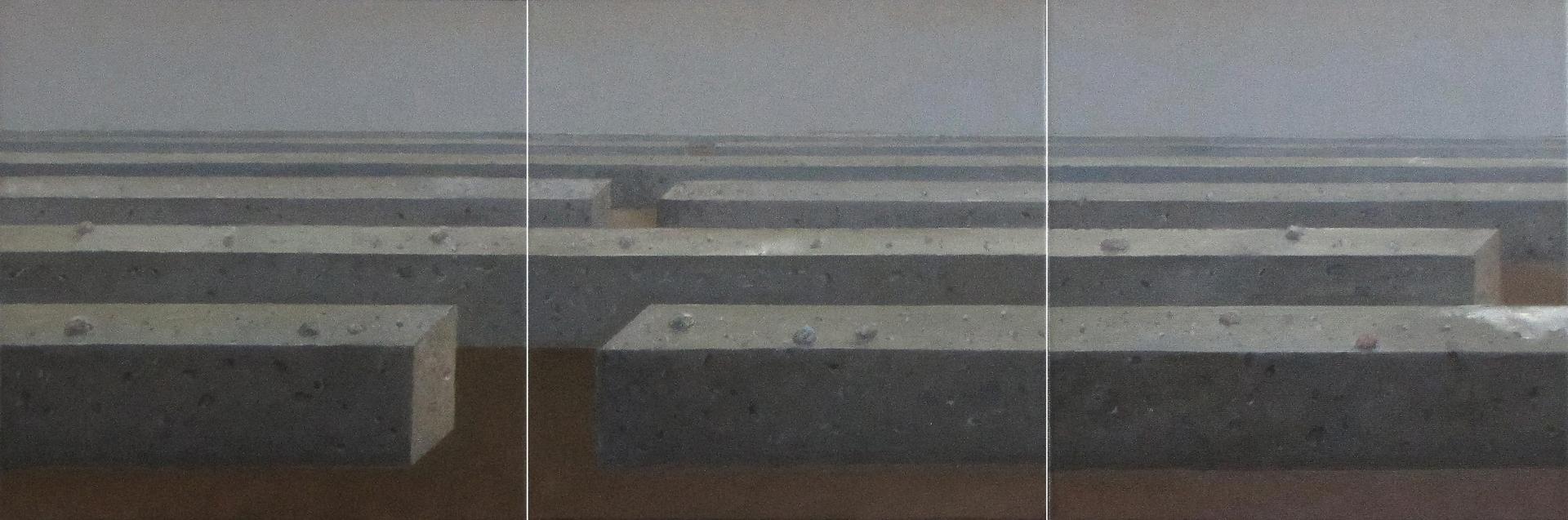 Stąd do horyzontu, 2015, olej na płótnie, 30x30cmx3