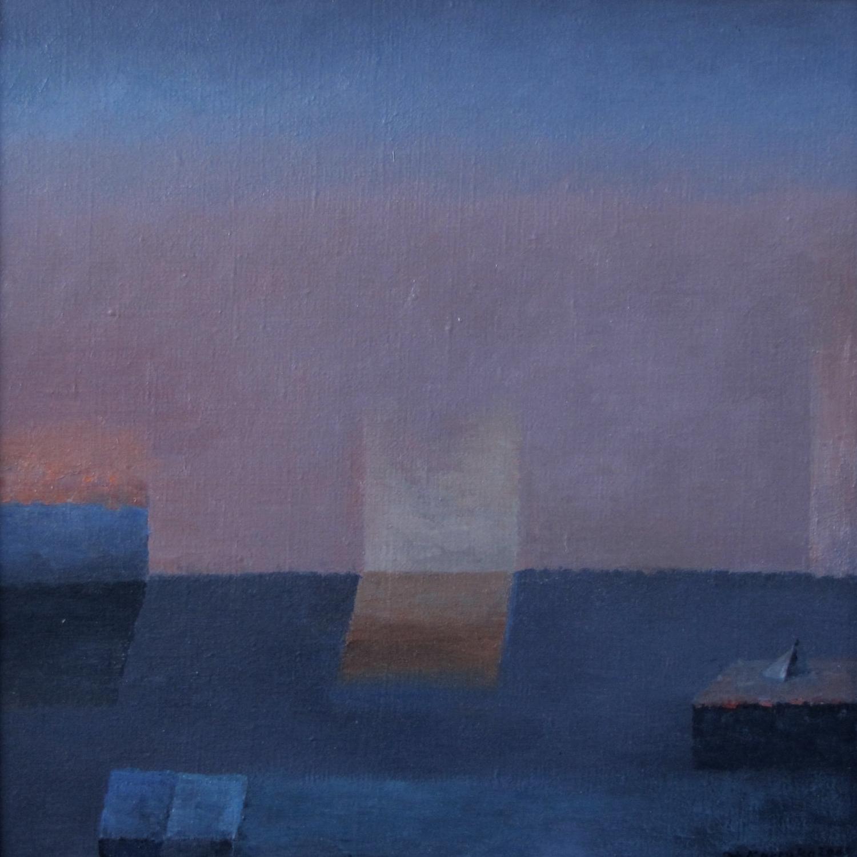 Tajemnice różowego poranka, 2004, olej płótno, 38x38mm