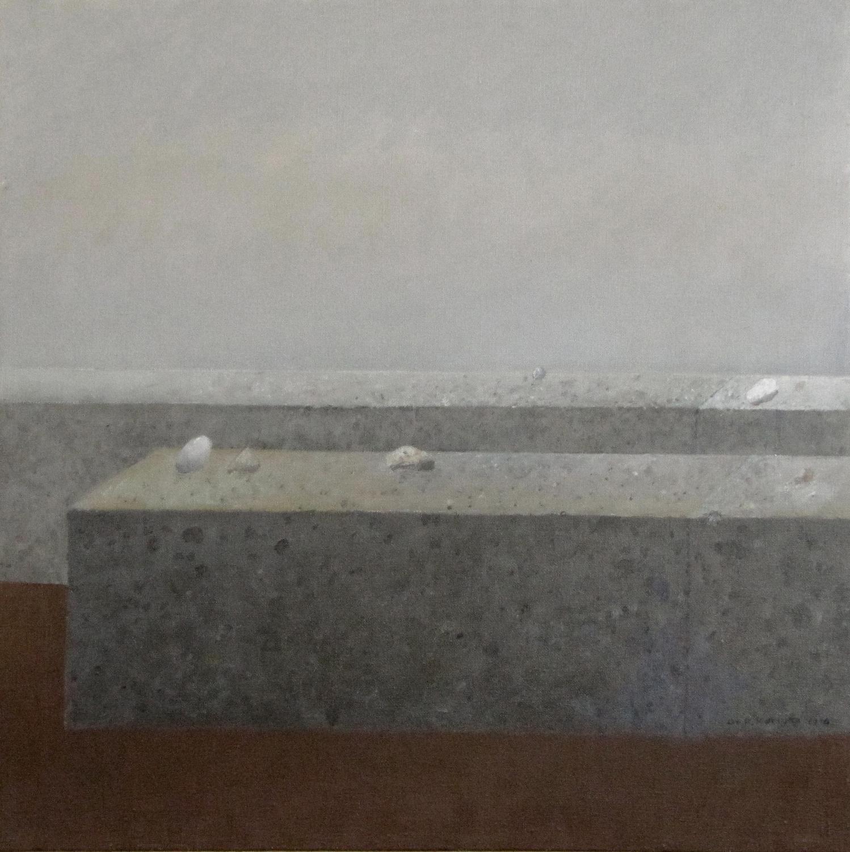 Trzy białe i niebieski, 2015, olej na płótnie, 65x65cm