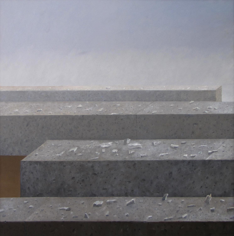 Ułomki nieznanej budowli, 2016, olej na płótnie, 150×150cm