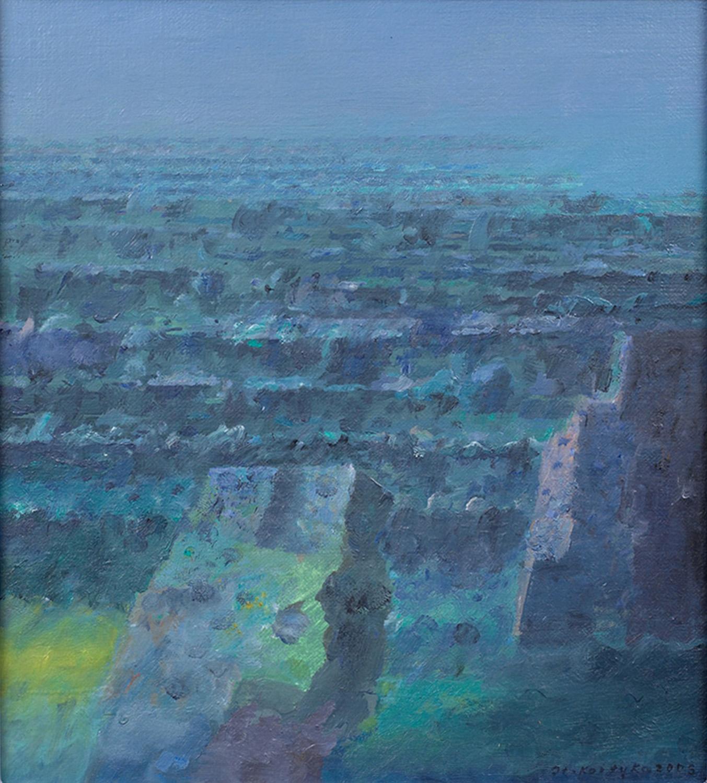 Zielona skała, 2005, olej płótno, 27x24cm