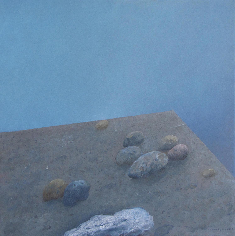 Zmierz I, 2015, olej na płótnie, 70x70 cm